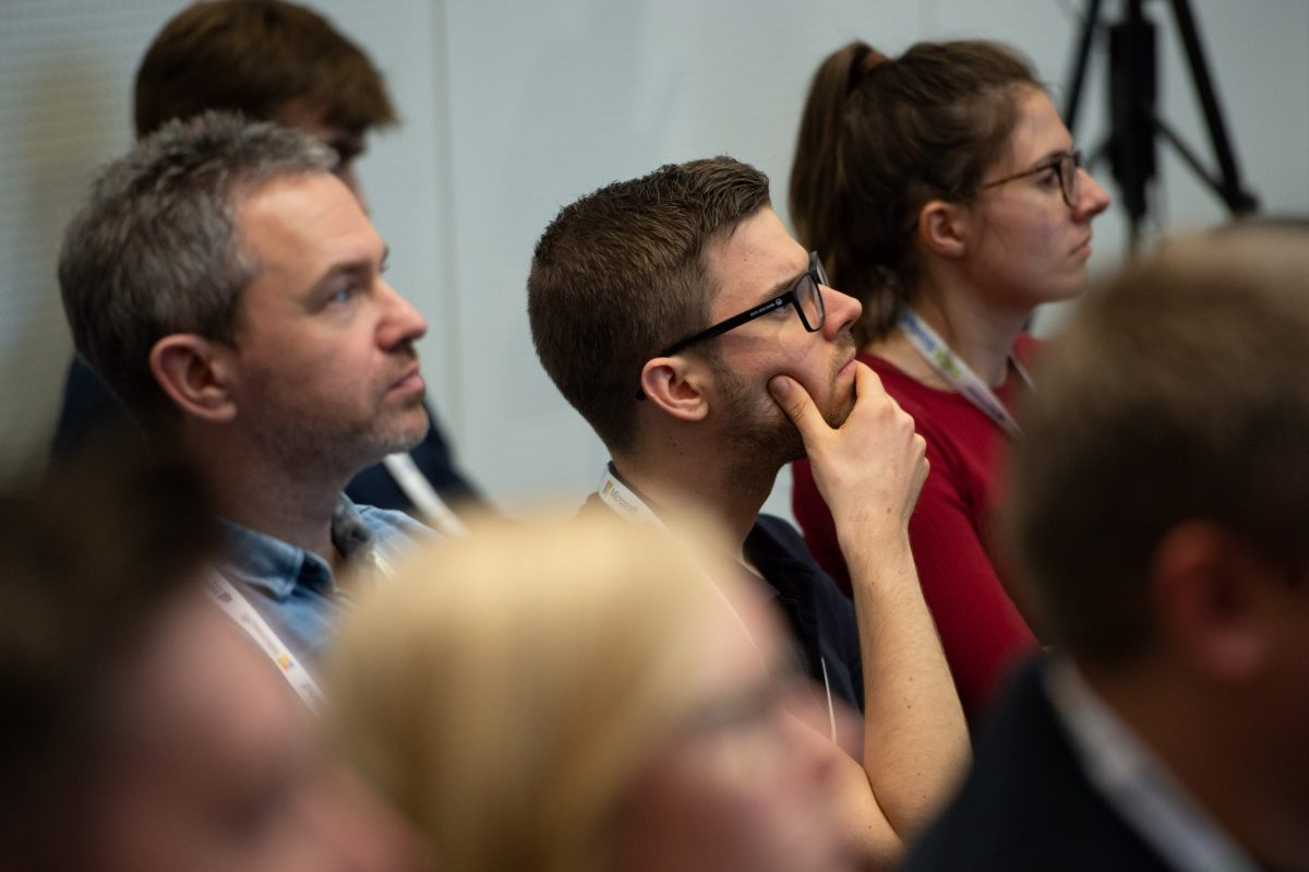 A man listens intently during a DATA:Scotland session